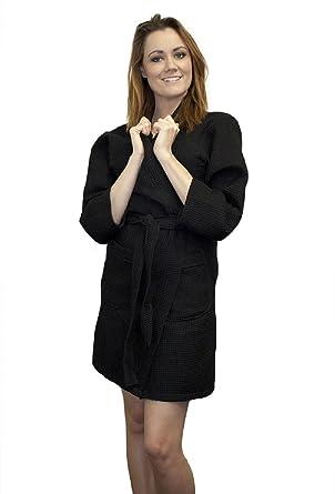 9a3119c39d Waffle Kimono Robe Thigh Length Waffle Weave Bridesmaids Spa Bathrobe  (Black