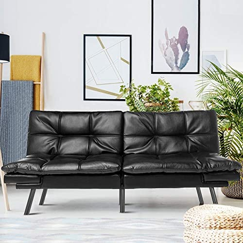 Futon Couch Bed Modern Convertible Sleeper Sofa Memory Foam Daybed Black