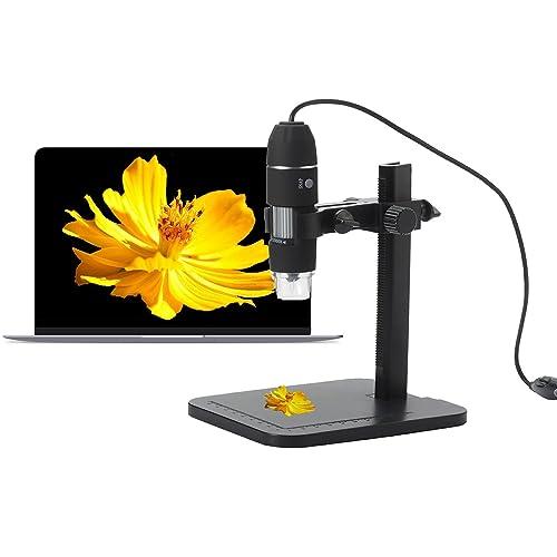 halomy Microscopio Digital USB, 1000x Microscopio de Endoscopio de Ampliación con construido-8 luces LED, soporte de altura ajustable, Windows XP / Vista / Win 7/8 de 32 bits y 64