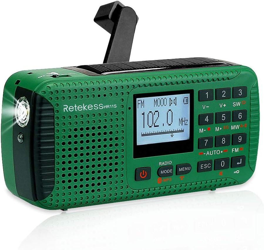 Retekess HR11S Radio Portátil Radio de Emergencia AM / FM / SW Camping Radio Radio Solar con Reloj Despertador Temporizador MP3 Reproductor Linterna ...