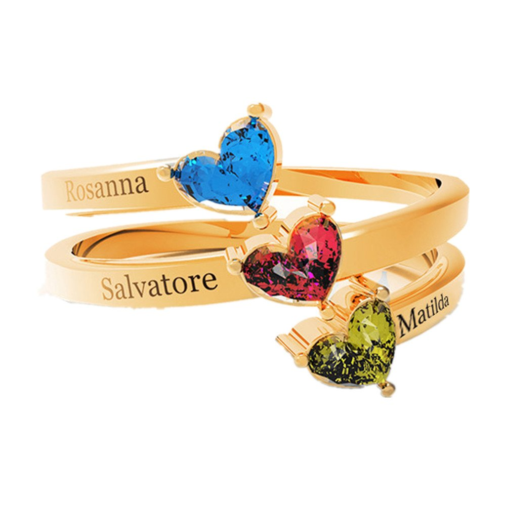KIKISHOPQ Personalized customized couple or family ring for best gift for loved one or family(gold 13.5)
