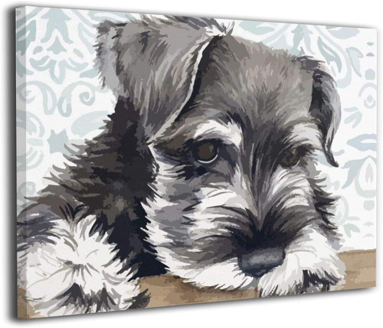 シュナウザー 可愛い犬 絵画 キャンバス絵画 インテリアパネル 壁絵 油彩アート アートパネル アートフレーム 壁飾り 壁掛け 完成品 縦 40*50cm