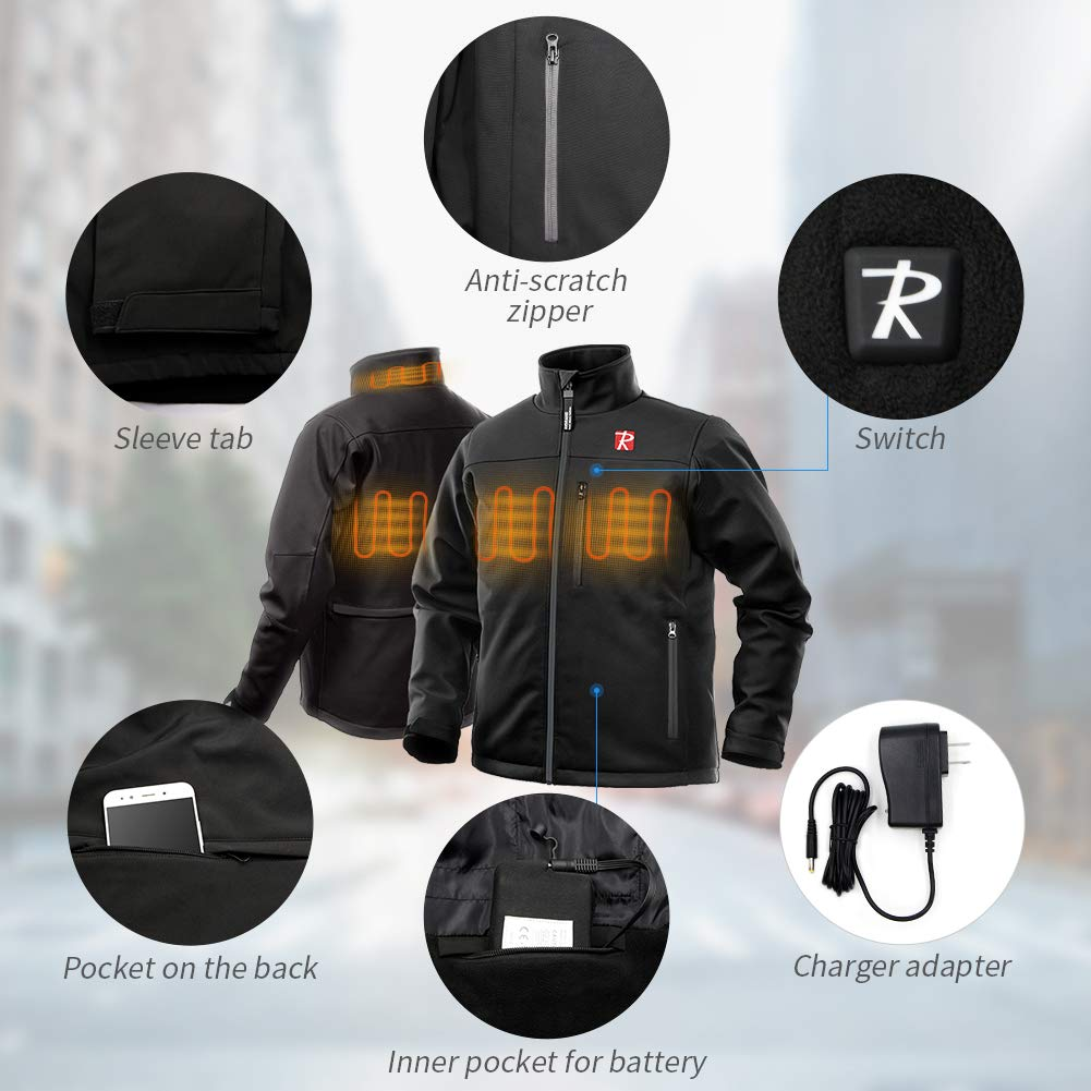 Heated Jacket for Men with 5 Heated Zone and 7.4V 10050mAh Battery Passed UL Certification Comfortable Stylish Warm (M) Black