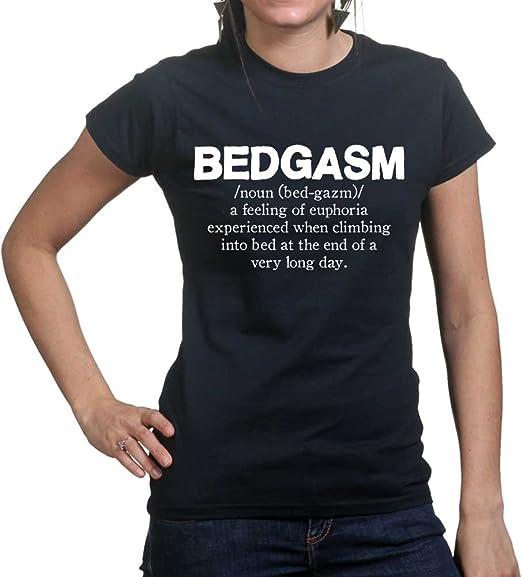 Bedgasm Orgasm Funny Sex Womens Ladies T Shirt Large Black: Amazon.co.uk: Clothing