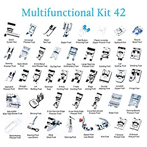 Eurlove Sewing Machine Presser Feet Kit Set 42 pcs for Brother, Babylock, Singer, Janome, Elna, Toyota, Home, Simplicity, Necchi, Kenmore, and White Low Shank Sewing Machines