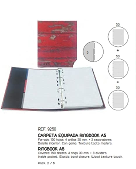 Senfort Atlantic - Carpeta, formato A5, 4 anillas, 120 hojas