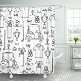 Emvency Shower Curtain Symbols of Golf on White Color Pattern Hobby Game Waterproof Polyester Fabric 72 x 78 inches Set with Hooks