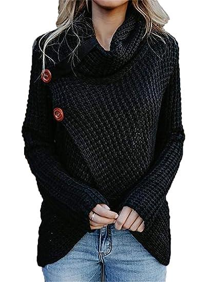 fcbf486a9d Image Unavailable. Image not available for. Color  HZSONNE Women s Chunky  Turtle Cowl Neck Asymmetric Hem Wrap Sweater Coat with Button Details
