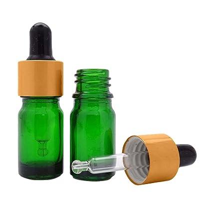6 unidades, cristal, color verde, los frascos-Matt Golden Cap pipeta botella