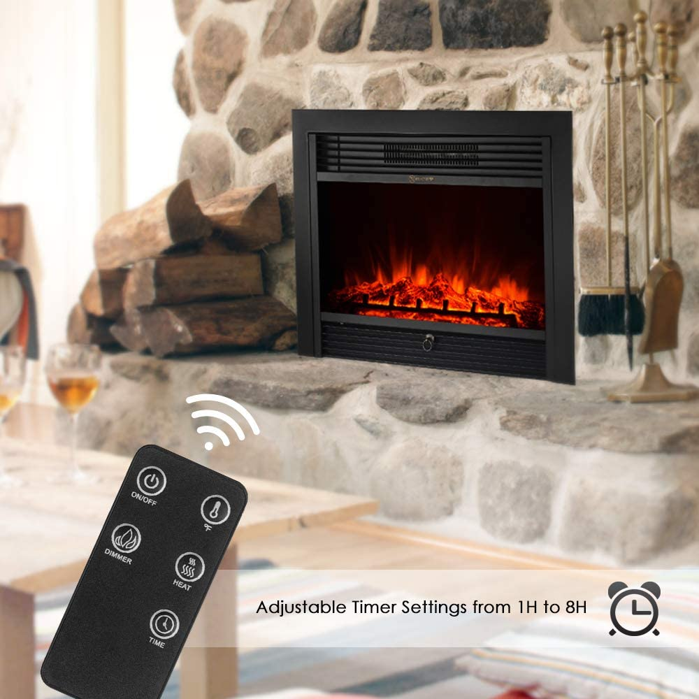 Fesjoy Chauffage encastr/é au Foyer /électrique encastrable avec Insert en Verre