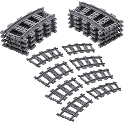 Feleph Curved City Train Tracks Non-Powered RC Train Rail Accessories Set High Speed Trains Railroad Building Block Toy Compatible for Major Brands (Curved-16PC): Toys & Games