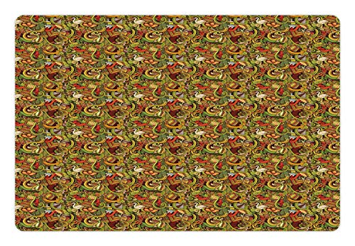 (Ambesonne Latin America Pet Mat for Food and Water, Doodle Drawn Objects of Latin American Culture Guitar Hat Mask Cactus Swirls, Rectangle Non-Slip Rubber Mat for Dogs and Cats, Multicolor)