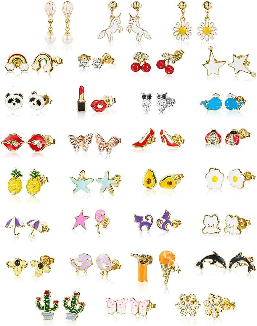 minihope 30 Pairs 18K gold plated earrings Kids,Hypoallergenic earrings for girls sensitive ears, Fashion earrings for teen girls,earring sets for women.