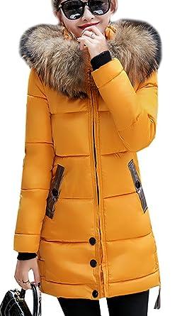 e668d28351 Magike Manteau Chaud Doudoune Femme Veste Capuche Fourrure Faux Long Hiver  Jacket Blouson Causal Marron,