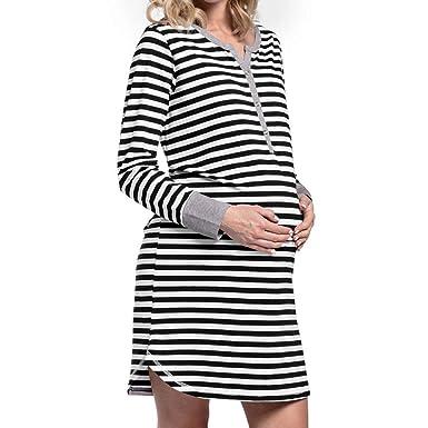 e421156e0f1 Amazon.com: SMALLE ◕‿◕ Clearance,Women's Long Sleeve Button Nursing Nightie  Stripes Maternity Breastfeeding Dress: Clothing
