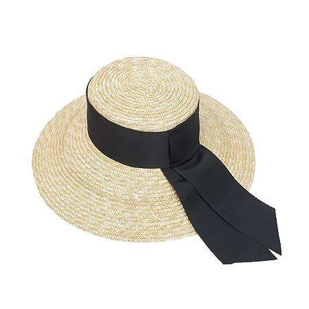 bc3df7b4df5 VORCOOL Women Fashion Handmade Paper Straw Hat Wide Brim Cap Flat Top Hat  UV Protection Summer Beach Cap  Amazon.co.uk  Kitchen   Home