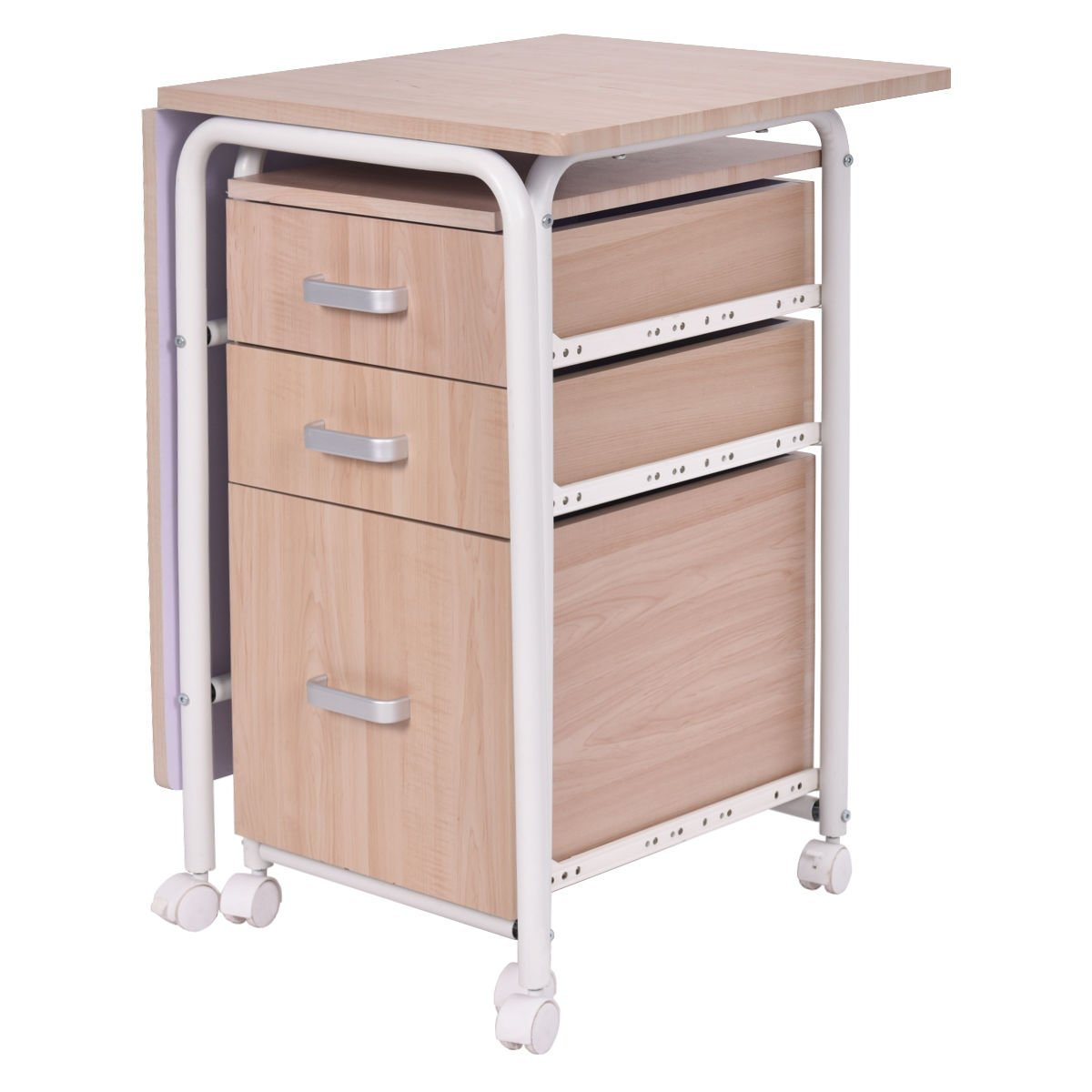 Amazon.com: Tangkula Folding Computer Laptop Desk Wheeled Home Office  Furniture With 3 Drawers (As Pic): Kitchen U0026 Dining