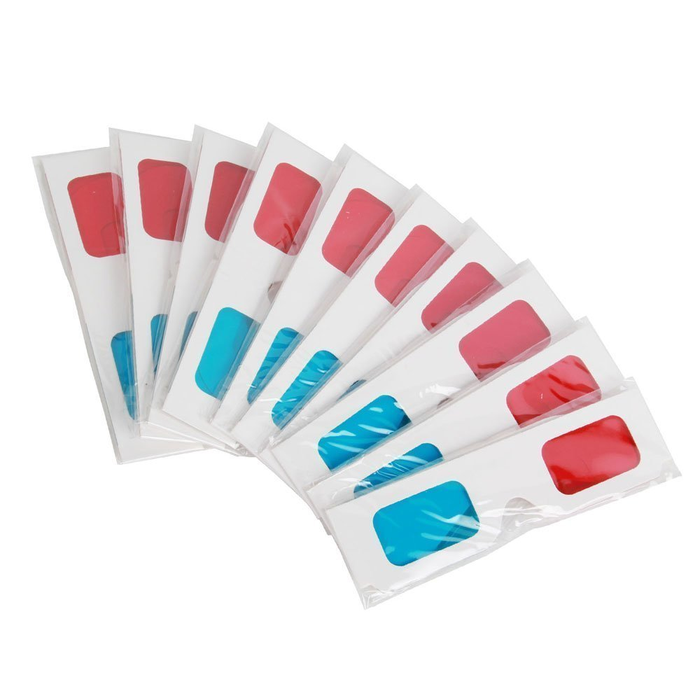 Lanlan 50PCS Disposable Paper Anaglyph 3D Glasses with Red & Blue Lens White Frame Movie Glasses
