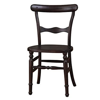 Joveco Vintage Style Curved Back Wood Chair With Decorative Slats   Set Of 2