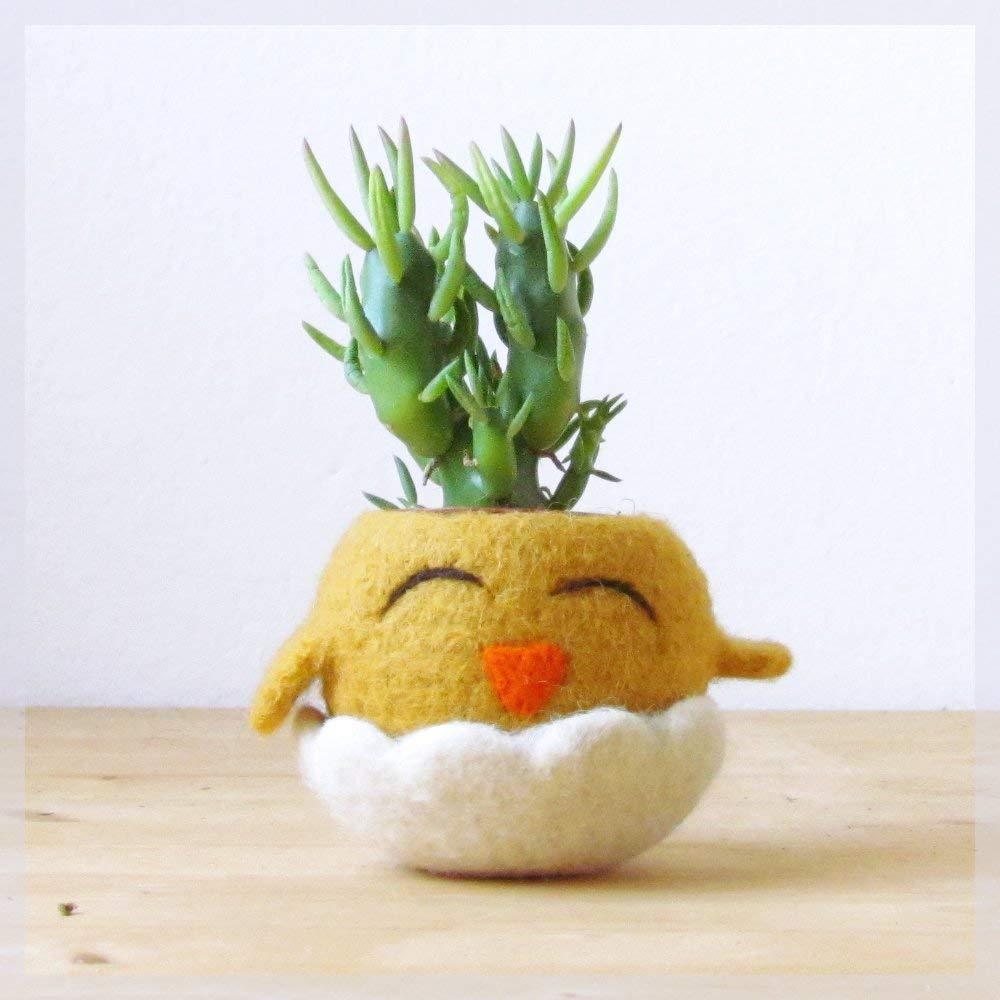 Chick planter/Succulent planter/Small succulent pot/felt cactus vase/Animal planter/gift for her - Choose your color!