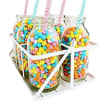 Botellas de leche de la escuela de vidrio en caja - tarros dulces (paquete de 6): Amazon.es: Juguetes y juegos