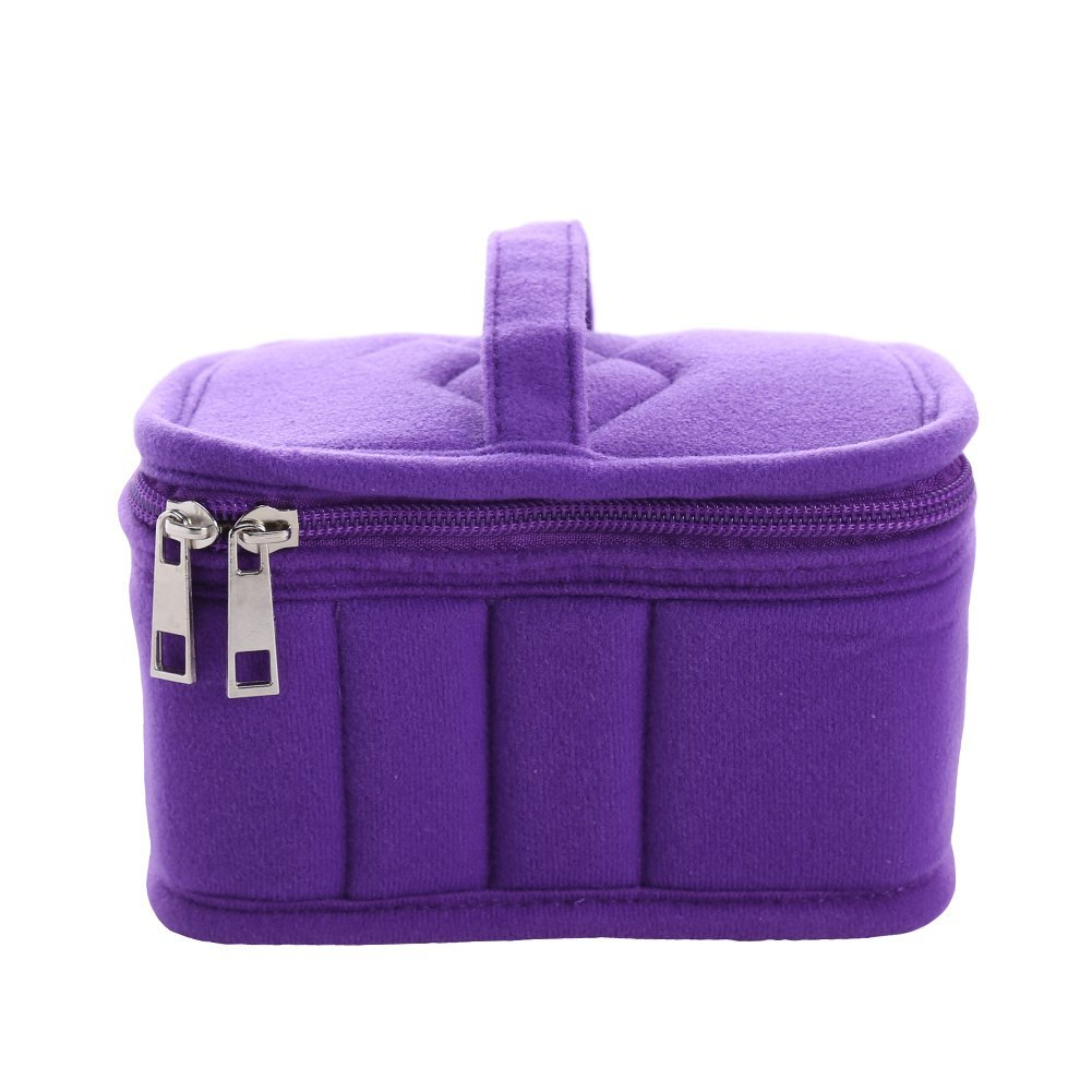 silverone 12 Bottles Essential Oil Carrying Case for 5ml,10ml,15ml with Handle Portable Essential Oils Storage Bag for Traveling (Purple)