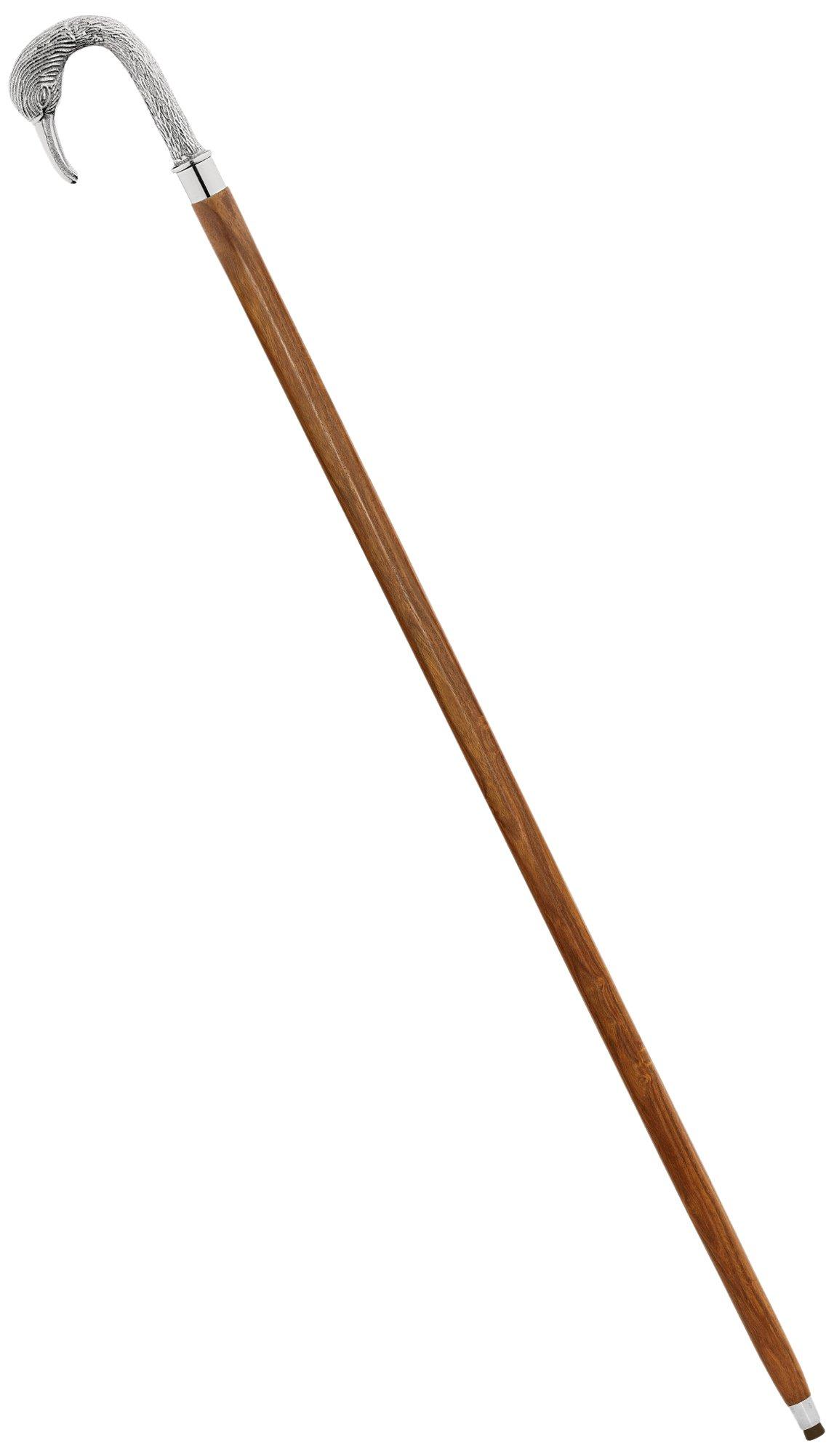 Design Toscano Empress Collection Silver Swan Chrome Solid Hardwood Walking Stick