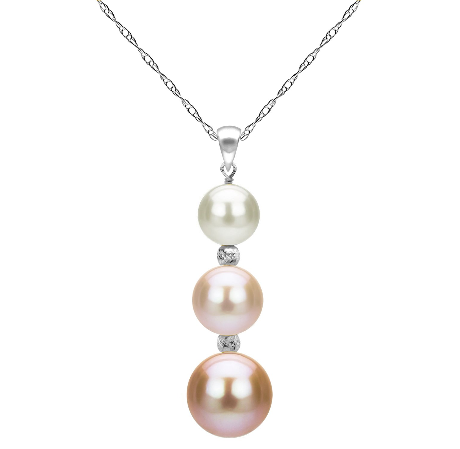 Freshwater Cultured Multi-pink Pearl Necklace 14K White Gold Pendant Chain Anniversary Gift 18 inch