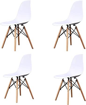 GroBKau Set di 4 Sedie in plastica, Design retrò, in Legno