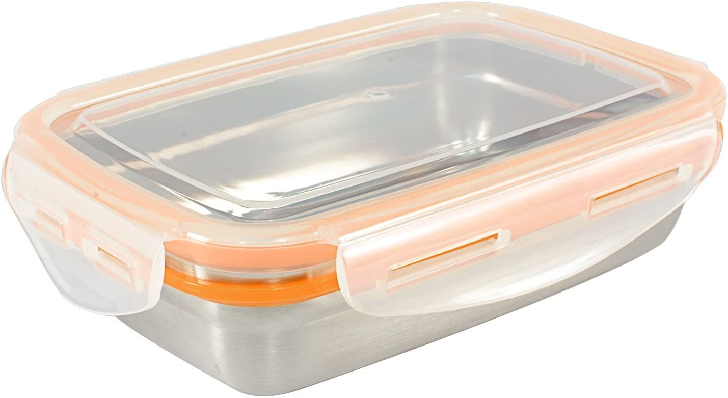 Mighty Hippo RECTANGLE Stainless Steel Food Container (Size: MEDIUM) - Perfect For Lunch (Leak Proof/Dishwasher Safe/Reusable/Food Safe/Metal/BPA Free)