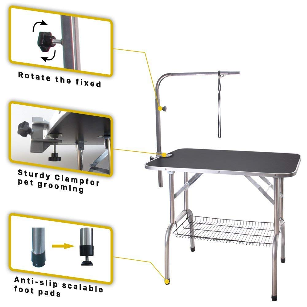 Polar Aurora Pingkay 36'' Heavy Duty Pet Professional Dog Show Foldable Grooming Table w/Adjustable Arm & Noose & Mesh Tray by Polar Aurora (Image #4)