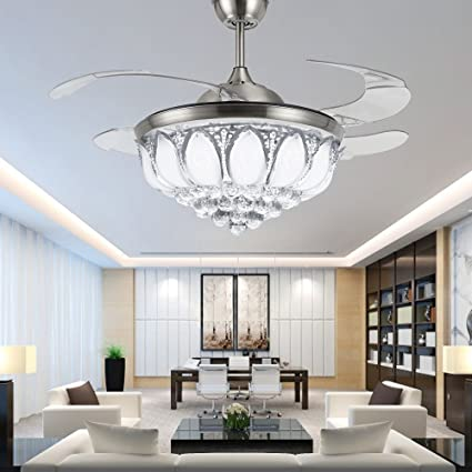 Tiptonlight modern crystal chandelier ceiling fan lamp folding tiptonlight modern crystal chandelier ceiling fan lamp folding ceiling fans with lights chrome ceiling fan with aloadofball Images