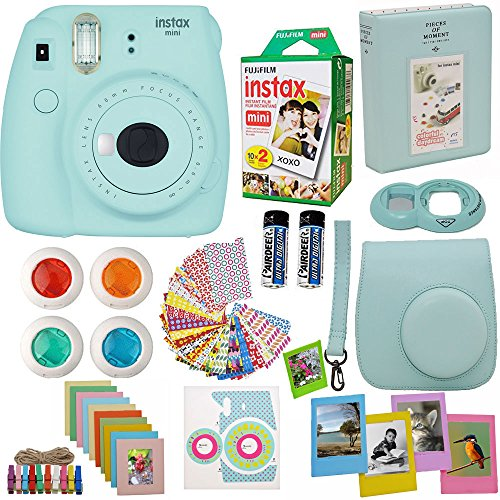 Fujifilm Instax Mini 9 Instant Camera Ice Blue + Fuji Instax Film Twin Pack (20PK) + Blue Camera Case + Frames + Photo Album + 4 Color Filters And More Top Accessories Bundle (Camera Blue Polaroid Instax)