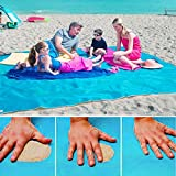 None Sand Free Beach Mat - Ultra Lightweight Sand Proof Free Beach Mat, Waterproof Portable Sandless Blanket for Summer Beach, Picnic, Hiking, Outdoor (200200cm, Blue)