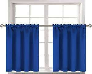 BGment Small Window Room Darkening Curtains for Kitchen- Thermal Insulated Tier Valance Curtain for Bedroom, 42 x 36 Inch, 2 Panels, Royal Blue