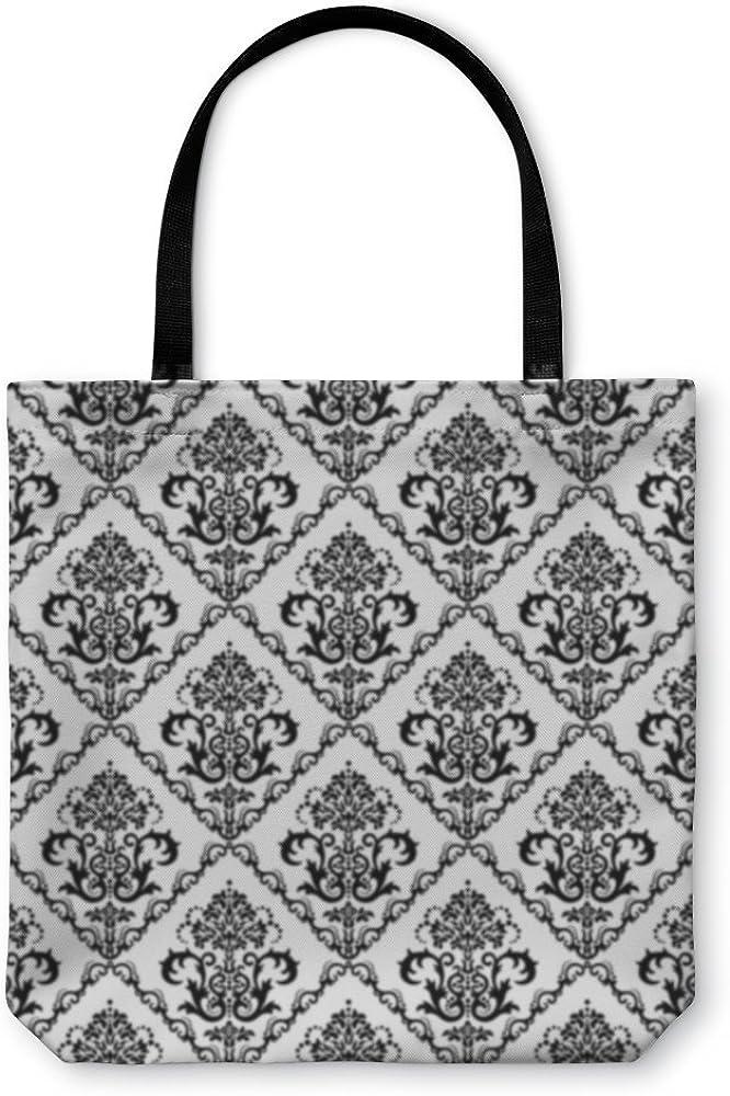 Black White Floral Wallpaper 17688GN Gear New Shoulder Tote Hand Bag
