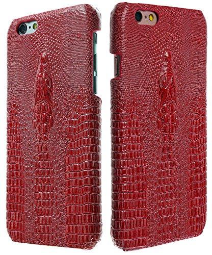 3Q iPhone 6 Hülle iPhone 6S Hülle Luxus Klasse Handy-Hülle mit Krokodil Motiv in hochwertigen Top Premium Leder-Optik Schweizer Premium Design und Verpackung Handy-Tasche Case Rot