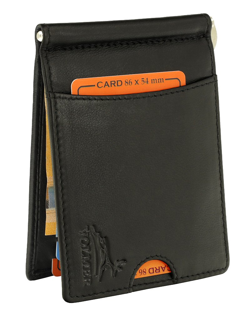 Braun Vintage Fa.Volmer /® Money Clip Geldklammer B/üffelleder mit RFID-Schutz