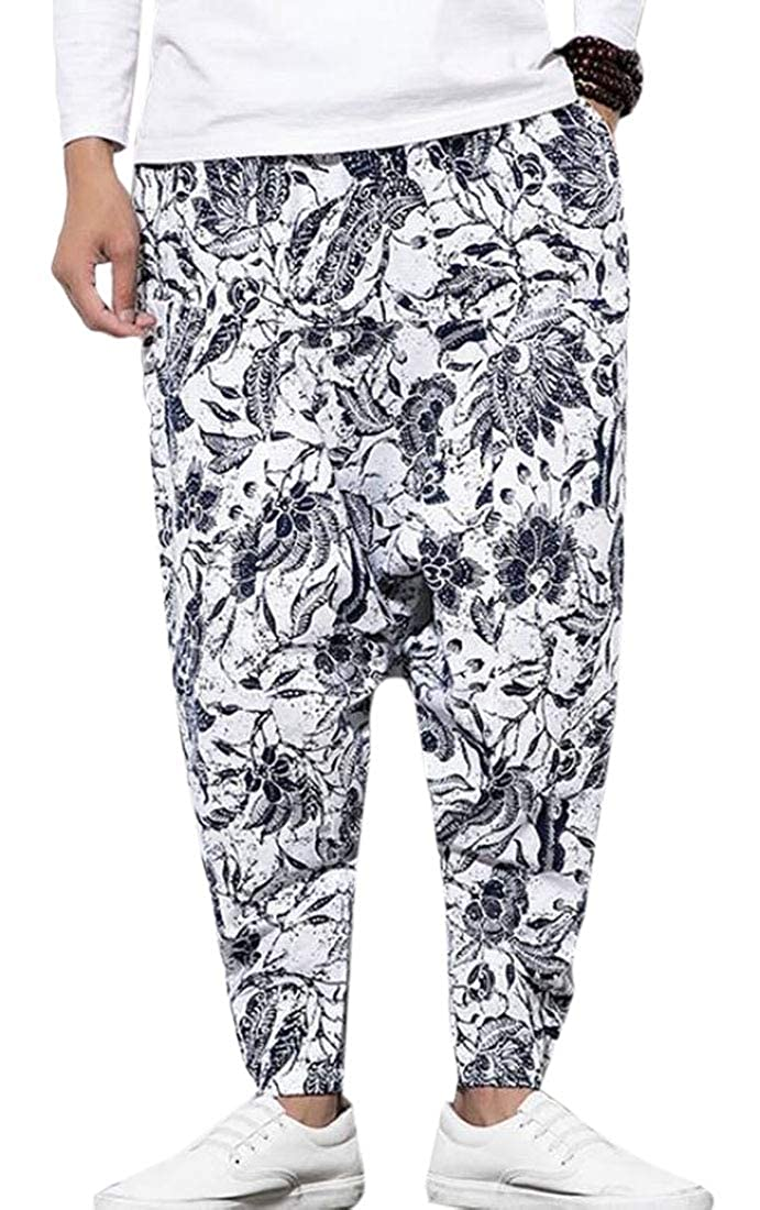 ARTFFEL Mens Stylish Print Pockets Baggy Linen Elastic Waist Harem Pants