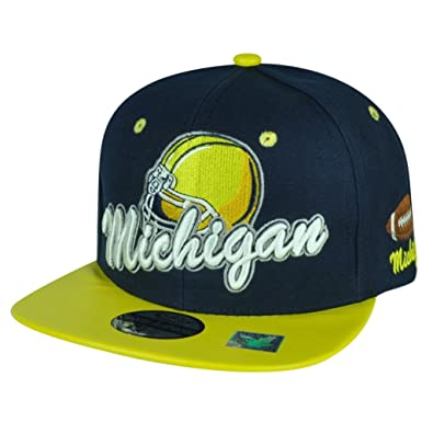 f8bf15455ef Black Eagles Michigan Navy Two Toned Football Snapback Yellow Flat Bill Hat  Cap  Amazon.co.uk  Clothing