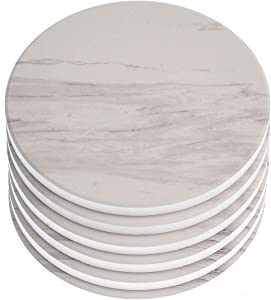 """AlphaAcc Absorbent Ceramic Coasters for Drinks Large Size 4.2"""" in Diameter - Great Gift for Home White Marble Design with Cork Back Coasters Protection from Drink Rings,Pack of 6"""