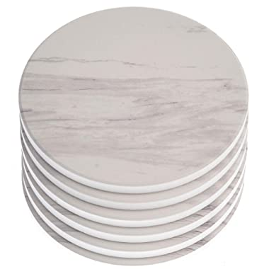 AlphaAcc Absorbent Ceramic Coasters for Drinks Large Size 4.2  in Diameter - Great Gift for Home White Marble Design with Cork Back Coasters Protection from Drink Rings,Pack of 6