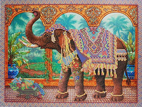 (Indian Elephant Bead Embroidery Kits Animal Needlepoint Handcraft kit Beaded Painting Cross Stich 3D DIY Embroidery Beading Wall Decor Perle)