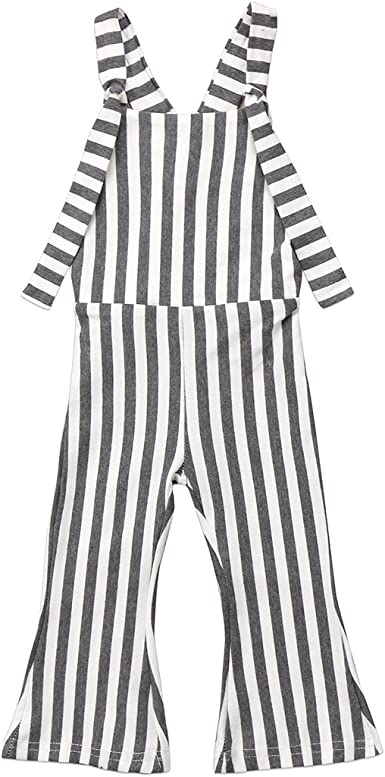 ZAXARRA Toddler Kids Baby Girl Stripes Bell-Bottom Jumpsuit Romper Overalls Pants Outfits Green, 4-5T