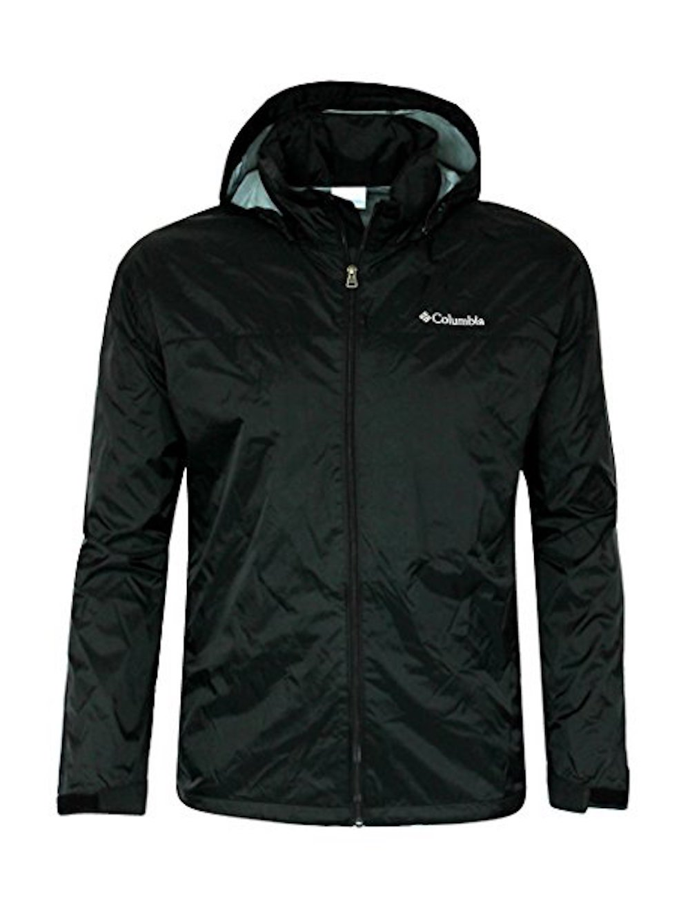 Columbia Mens Raincreek Falls Hooded Rain Windbreaker Jacket (Medium, Black)