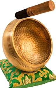 "Tibetan Singing Bowl Set By YAK THERAPY- Chakras Healing & Meditation Yoga Sound Bowl with Mallet, Silk Cushion, & Silk Bag, 4.5"" Tibetan Bell, Buddhist Bowl Made in Nepal includes Gift Ebook by Email"