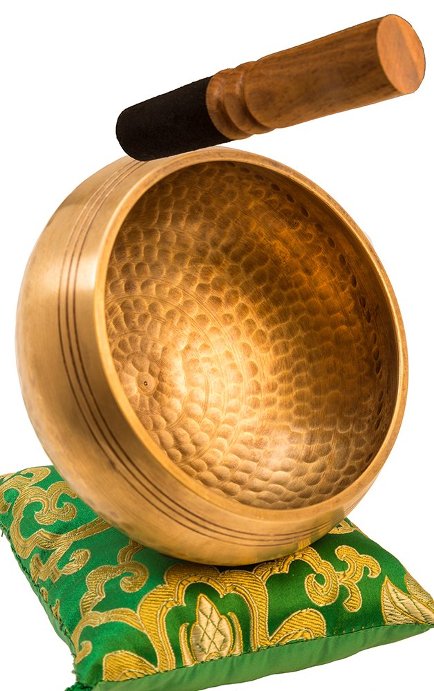 Tibetan Singing Bowl Set By YAK THERAPY- Chakras Healing & Meditation Yoga Sound Bowl with Mallet, Silk Cushion, Silk Bag, 4.5'' Tibetan Bell, Buddhist Bowl Made in Nepal includes Gift Ebook by Email