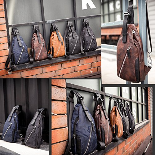 Sports Crossbody Casual Pu Small black Chest Sling Leather Traveling Cycling Gym Mens Aikosha Style2 Bag For FwSOq