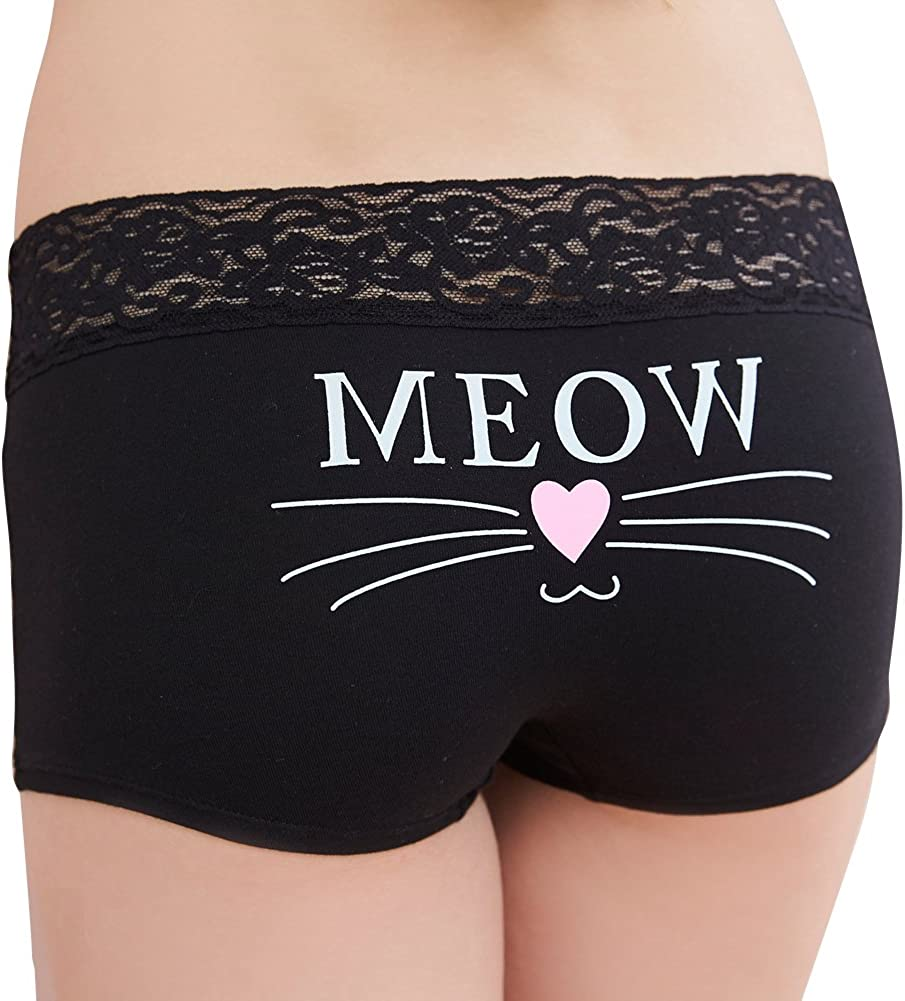 Meow Lace-Trimmed Boyshorts Anden Hud