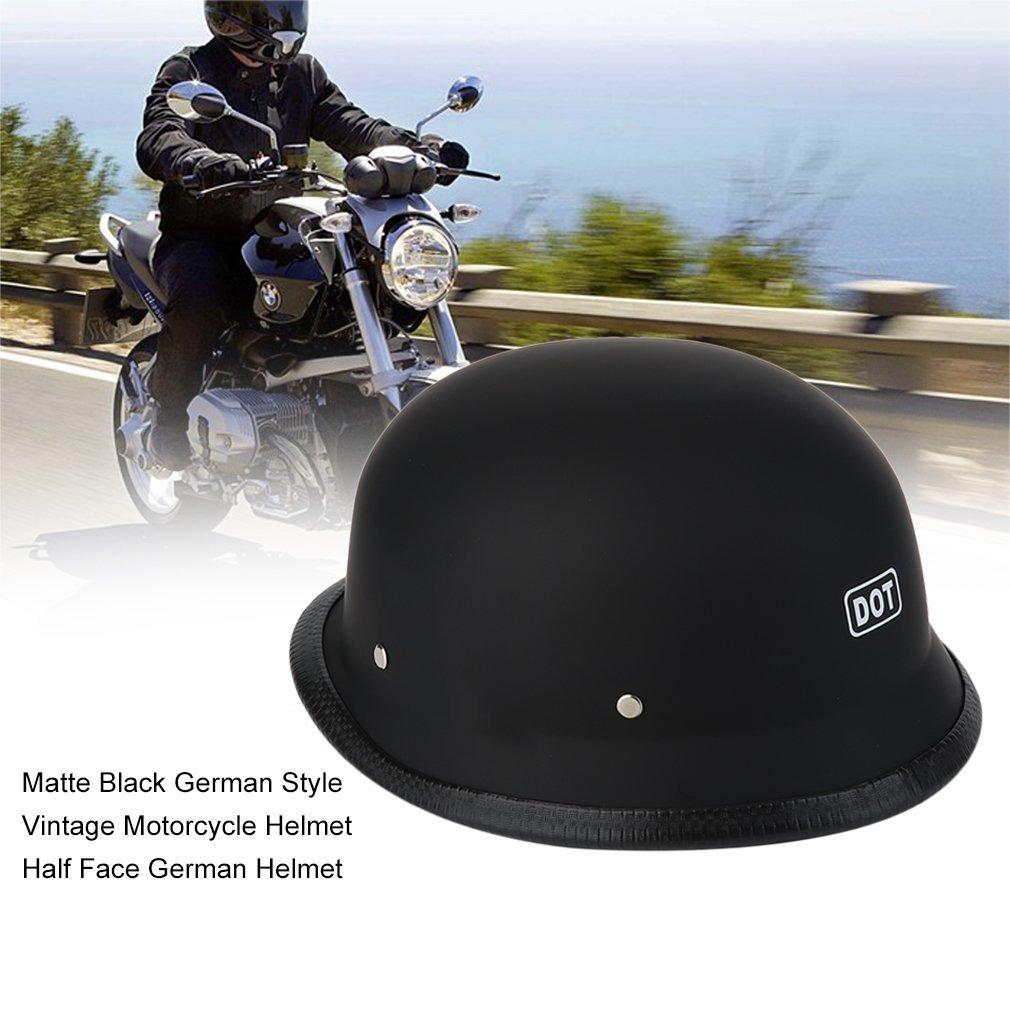 Leoboone C/ómodo Estilo Alem/án Negro Mate Casco de la motocicleta de la vendimia Casco alem/án de media cara duradero Casco de la motocicleta
